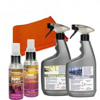 Zestaw 4 profesjonalnych preparatów do mycia Nano Łazienka + mikrofibra
