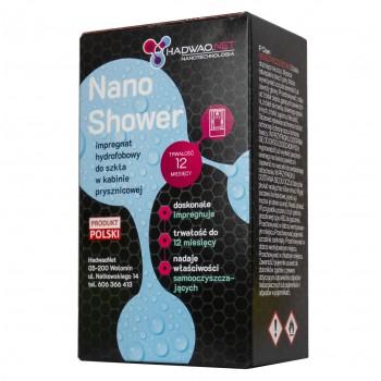 """Zestaw do impregnacji kabiny prysznicowej: impregnat hydrofobowy """"nano shower"""", płyn odtłuszczający, ściereczka z mikrofibry."""